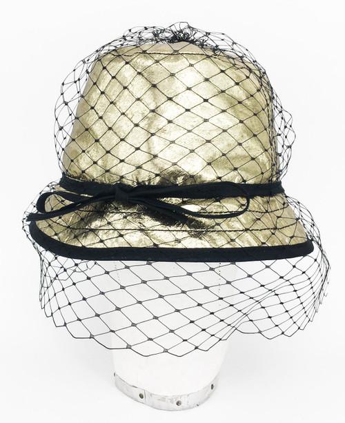 Metallic Veil Hat - Gold
