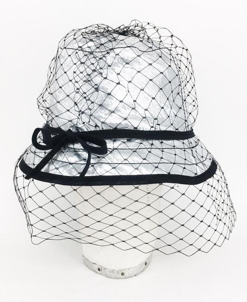 Metallic Veil Hat - Silver