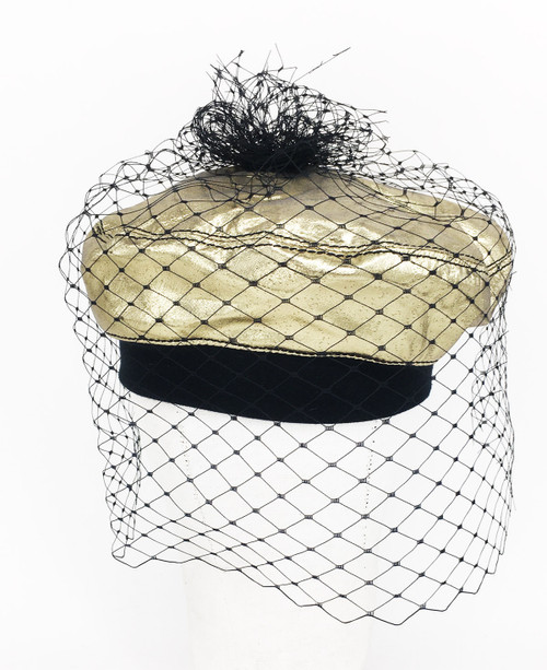 Metallic Veil Beret - Gold