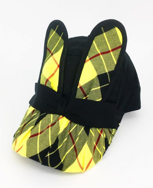 Tartan Bunny Cap - Black & Yellow