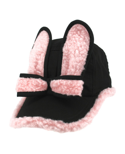 Fleece Bunny Cap - Black/Pink