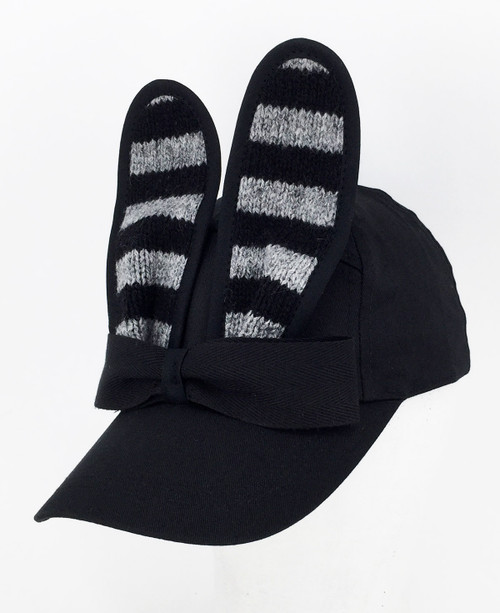 Stripe Bunny Cap - Black/Grey