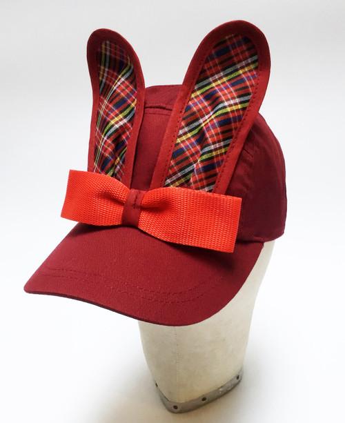 Tartan Bunny Cap - Burgundy