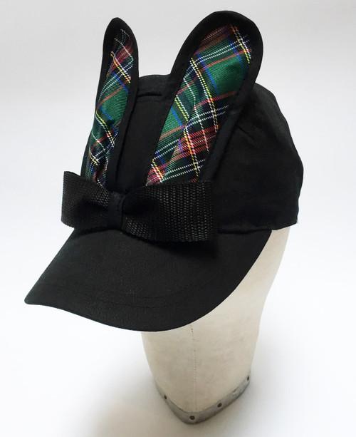 Tartan Bunny Cap - Black
