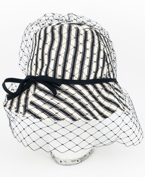 Ticking Veil Hat - Black/Cream