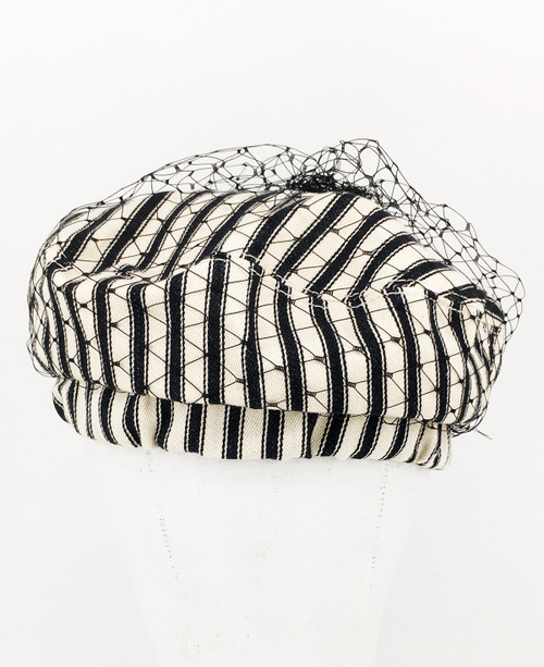 Ticking Veil Beret - Black/Cream