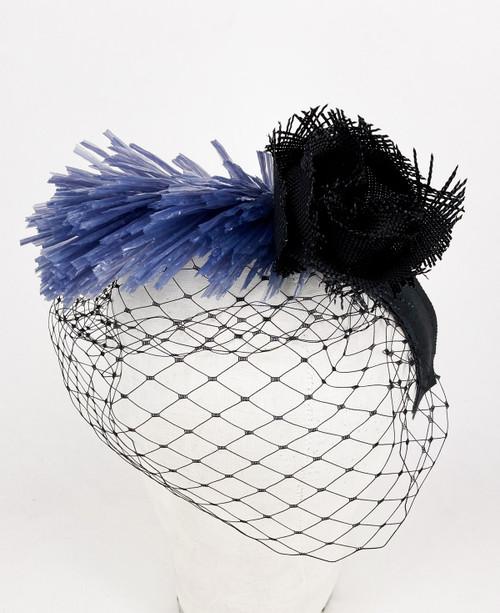 Raffia veil headband - Black