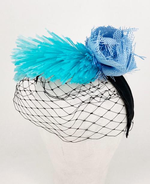 Raffia veil headband - Blue