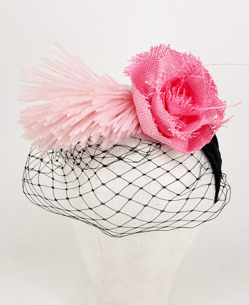 Raffia veil headband - Pink