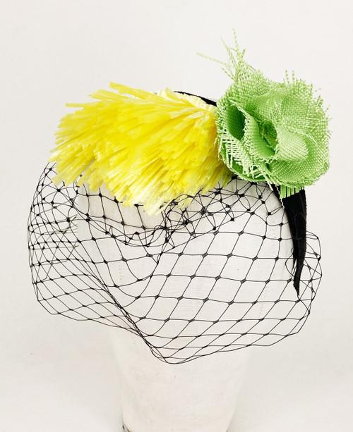 Raffia veil headband - Yellow