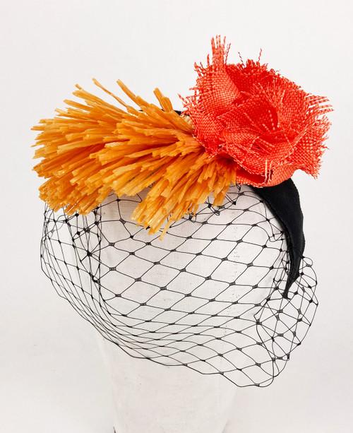 Raffia veil headband - Orange