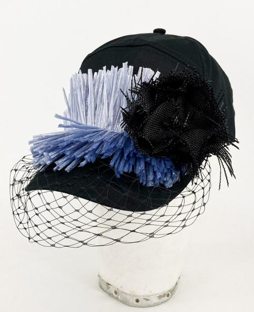 Raffia veil cap - Black/Black