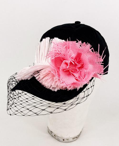 Raffia veil cap - Black/Pink