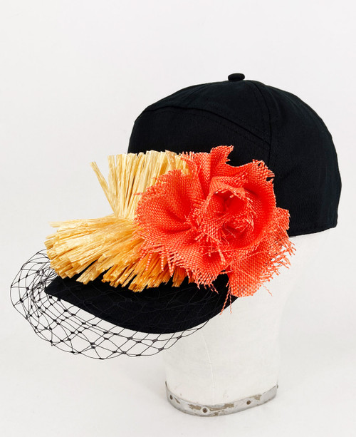 Raffia veil cap - Black/Orange