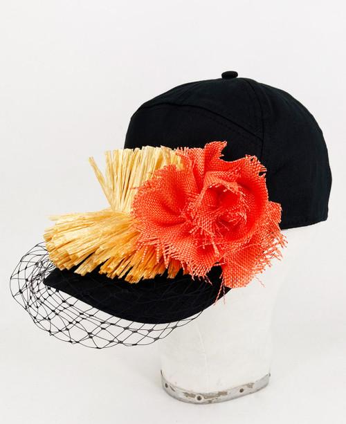 Raffia veil cap - Black/Orange
