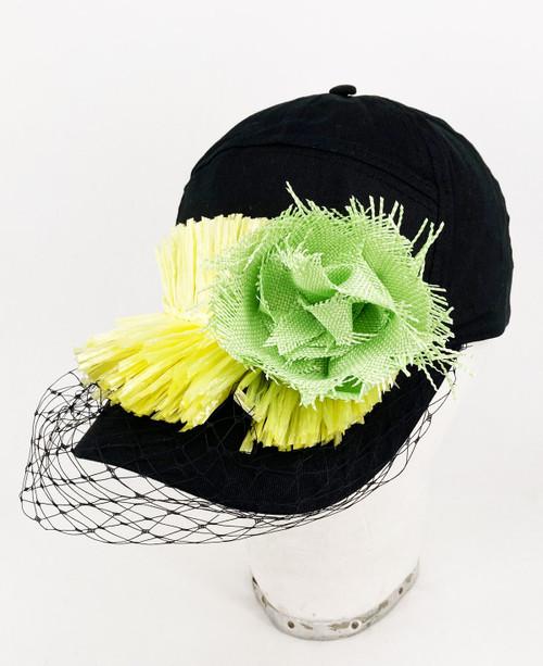 Raffia veil cap - Black/Yellow