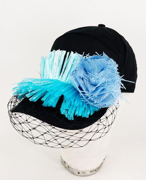 Raffia veil cap - Black/Blue