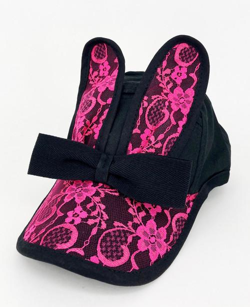 BUNNY BONANZA!                Lace Bunny Cap                                           Black/Pink
