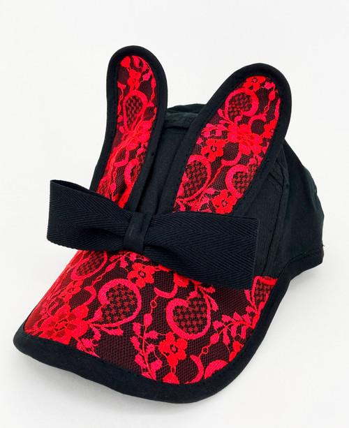 BUNNY BONANZA!                Lace Bunny Cap                                           Black/Red