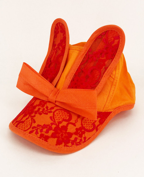 BUNNY BONANZA!                      Lace Bunny Cap                                 Orange/Red