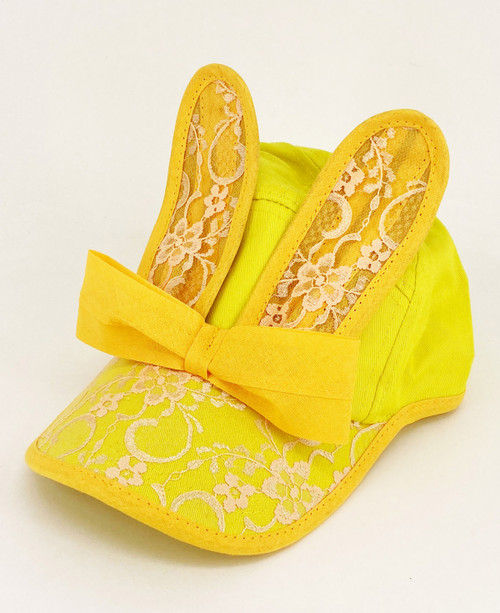 BUNNY BONANZA!                      Lace Bunny Cap                                 Yellow/Peach