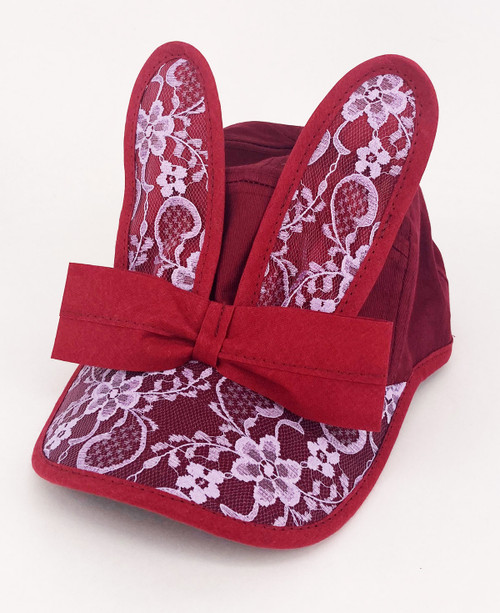 BUNNY BONANZA!                      Lace Bunny Cap                                 Burgundy/Lilac