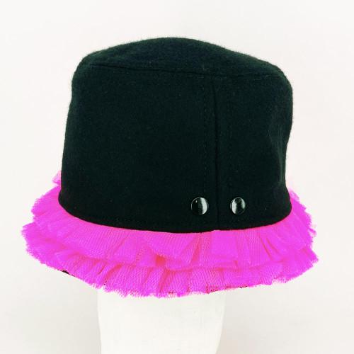 Frill Hat - Black/Pink