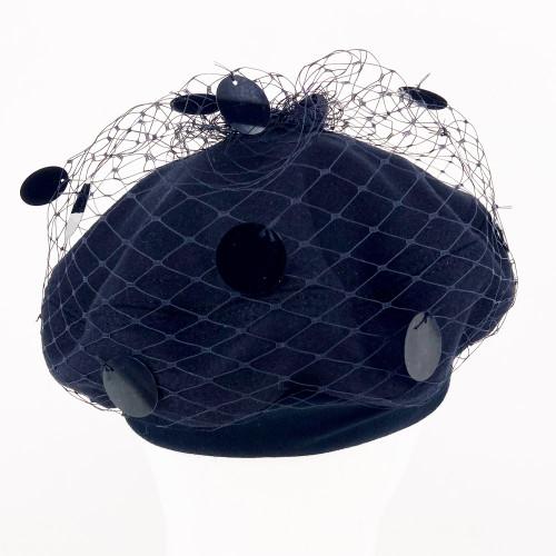 Sequin Beret - Black