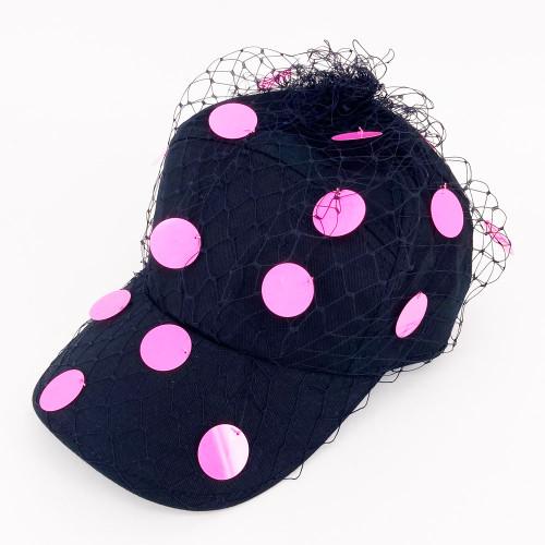 Sequin Cap - Black/Pink