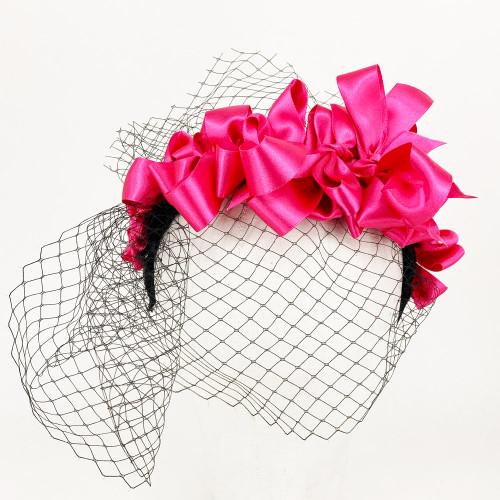 Ribbon Headband - Black/Pink