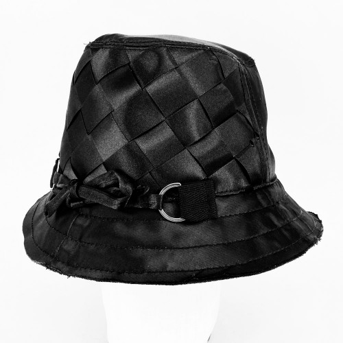 Woven Ribbon Hat - Black