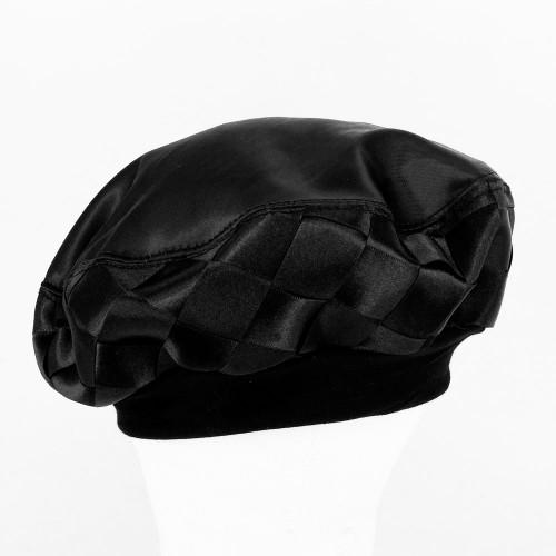Woven Ribbon Beret - Black