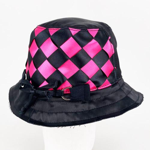 Woven Ribbon Hat - Black/Pink