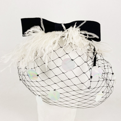 Feather Headband - White/Black