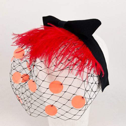 Feather Headband - Red/Black