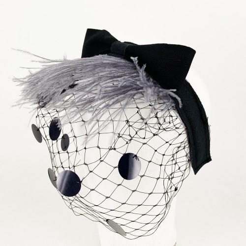 Feather Headband - Grey/Black