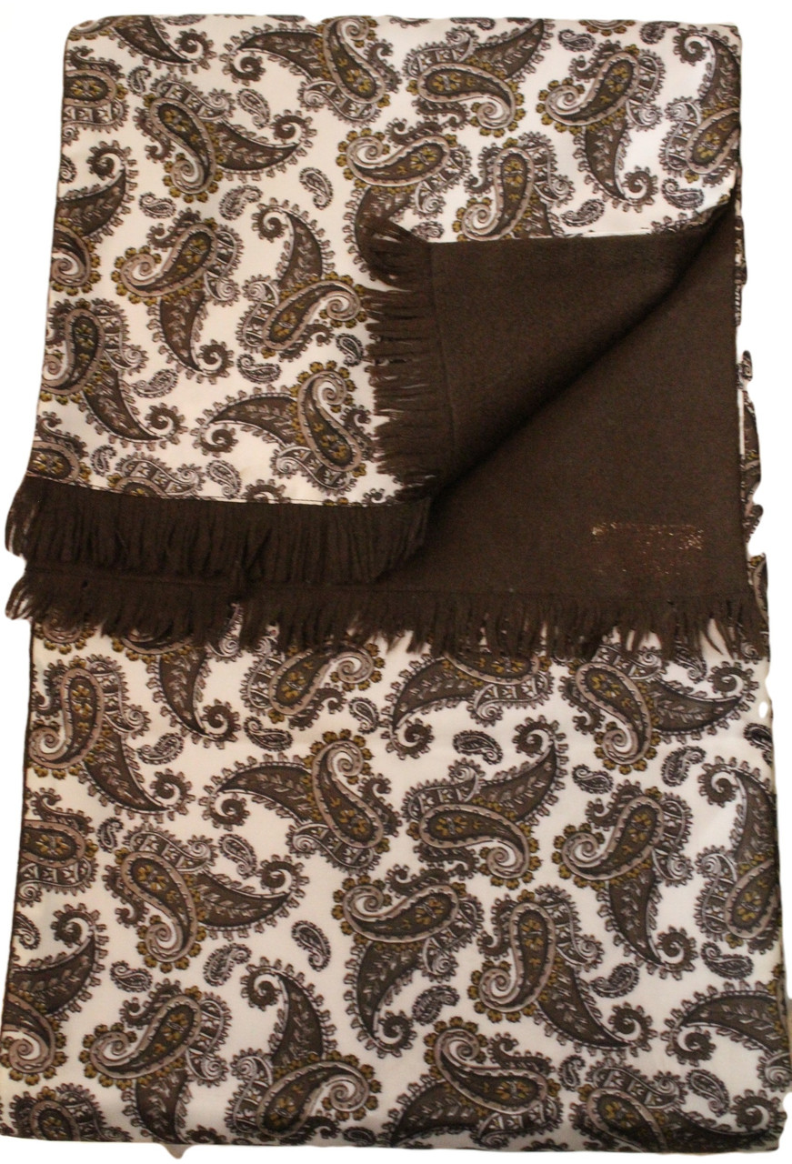 Vintage Brown Paisley Reversable Wool Backed Scarf