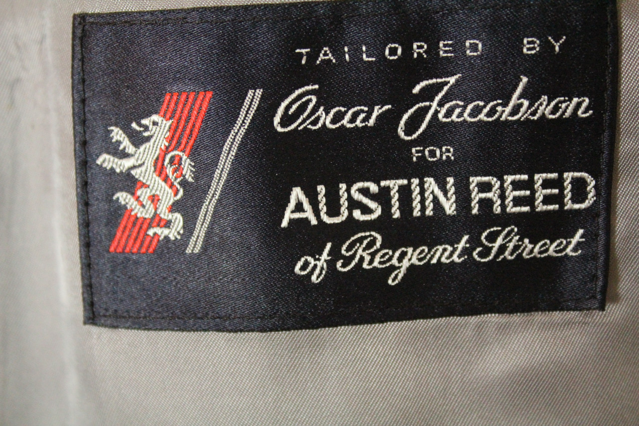 Vintage Austin Reed 46 Double Breasted Windowpayne Silk Wool Jacket