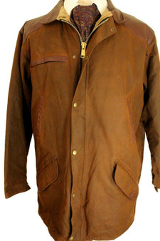 VINTAGE HOGGS LARGE BROWN WAX SHOOTING COUNTRY LEATHER TRIM OUTDOOR JACKET *RARE