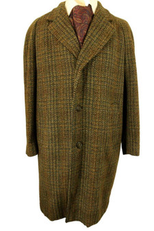 VTG ORIGINAL CROMBIE 40R TAILORED BROWN MIX SINGLE BREASTED THICK MENS OVERCOAT