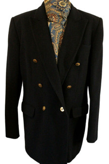 VINTAGE AQUASCUTUM LADIES SIZE 12 CASHMERE/WOOL NAVY BLUE DOUBLE BREASTED JACKET