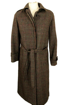 HARRODS AQUASCUTUM LONDON SIZE 4 XSMALL TWEED HOUNDSTOOTH BELTED OVERCOAT