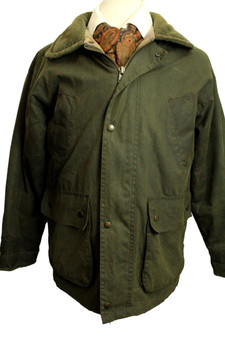 PG FIELD OLIVE GREEN WAX COTTON INSULATED  WATERPROOF JACKET