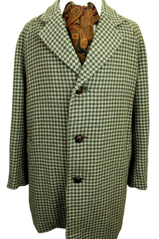 """VINTAGE NEWSOME HOUNDSTOOTH THICK TWEED OVERCOAT LARGE 44-46"""" SHORT SLEEVE"""