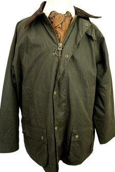 """M&S GREEN COTTON MENS COUNTRY OUTDOOR COAT SIZE XLARGE 44-46"""""""