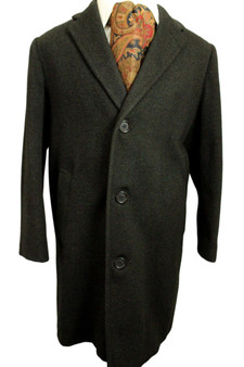 """VINTAGE CROMBIE MEAKERS OF PICADILLY 42""""-44"""" CHARCOAL OVERCOAT SHORT SLEEVE"""