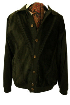 """BERTFIELD 46""""-48"""" GREEN SUEDE WOOL STYLE GREEN CARDIGAN JACKET *SUPERB QUALITY*"""