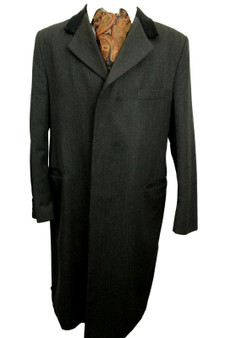 VINTAGE LYN OAKES CHARCOAL SIZE 44R 3/4 LENGTH OVERCOAT