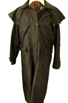 """OSX OUTBACK LEATHER MENS SIZE MEDIUM 42-44"""" HEAVY STORM BUSH TRENCH COAT"""
