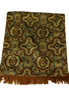 VINTAGE RETRO REVERSABLE GREEN PAISLEY WOOL BACKED SCARF